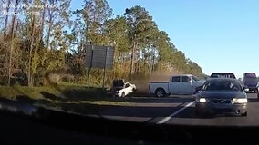 Watch: Chain-reaction crash injures two on Interstate 75