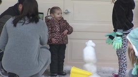 Community brings tons of snow to girl too sick to travel