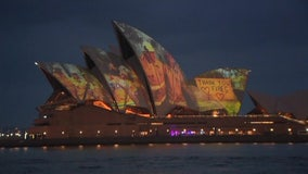 Illuminated Sydney Opera House shows support for those impacted by brushfires