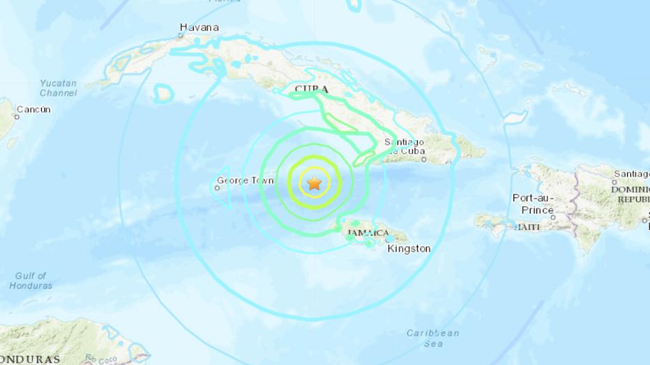 Erdbeben zwischen Kuba du Jamaika | Bildquelle: https://www.fox13news.com/news/powerful-7-7-earthquake-hits-between-cuba-and-jamaica-usgs-says © USGS | Bilder sind in der Regel urheberrechtlich geschützt