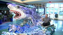 These sculptures at Florida Aquarium are made out of trash