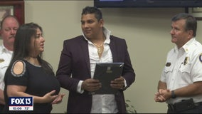 Hero with a ladder honored for helping save families from Bradenton apartment fire