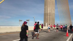 Northbound Sunshine Skyway Bridge, fishing piers closed Sunday morning for 10K race