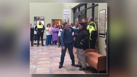 Texas police department gathers to celebrate officer's final chemo treatment