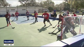 Lightning score with another outdoor kids hockey rink