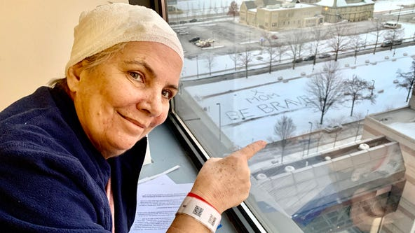 'Mom, be brave': Daughter leaves sweet message in snow for mother battling cancer