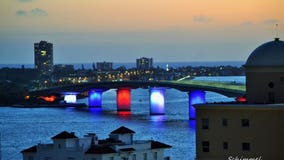 Ringling Bridge lights up in patriotic sign of solidarity against COVID-19
