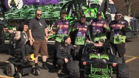 Young Monster Jam fan gifted custom wheelchair