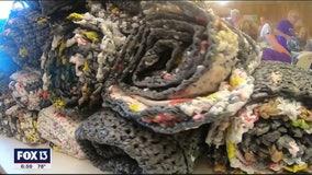Women living in RV park make plastic mats for homeless residents
