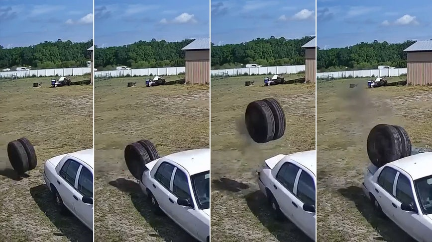 Semi-truck tires fly off after malfunction on I-4, lands on parked car on Dover property