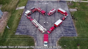 Hearts for healthcare: Wisconsin firefighters pay tribute to healthcare workers