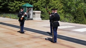 Changing of the Guard ceremony at Tomb of the Unknown Soldier altered for social distancing