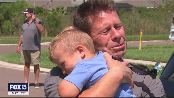 Military dad welcomed home after quarantine