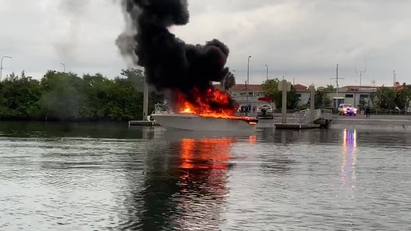 Boat catches fire at Gandy marina