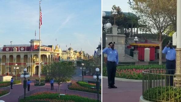 Cast members still raise American flag in closed Walt Disney World theme park