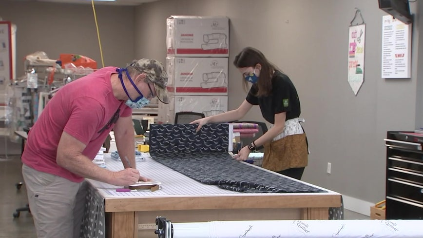Fabric shop, printing company team up to make face shields