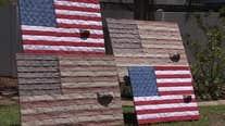 Patriotic artwork honors firefighters using repurposed fire hose