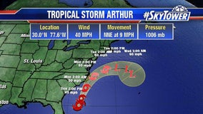 Tropical Storm Arthur forms in Atlantic; first named storm of season