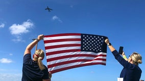 Sky-high salute: MacDill KC-135 flies over Bay Area hospitals in show of thanks