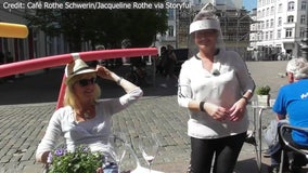 German cafe introduces pool-noodle hats to demonstrate social distancing