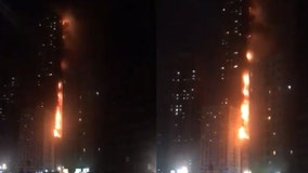 High-rise tower catches fire in United Arab Emirates
