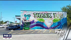 Mural thanking first responders completed in 24 hours
