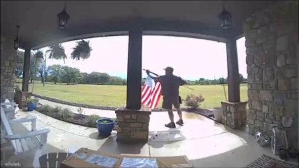 'Hero' UPS driver stops on delivery route to fix American flag