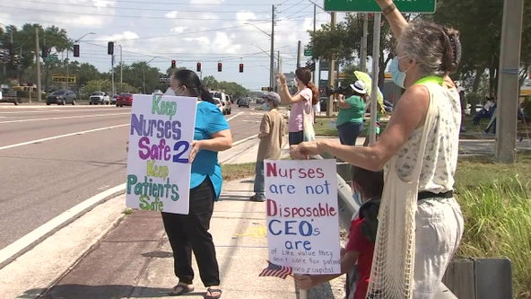 Nurses protest potential layoffs as hospitals cope with costs of pandemic
