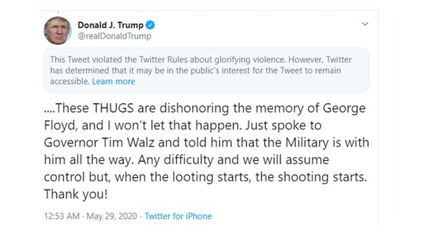 Twitter adds warning label to Trump's tweet for 'glorifying violence'
