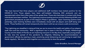 Tampa Bay Lightning players, staff test positive for COVID-19