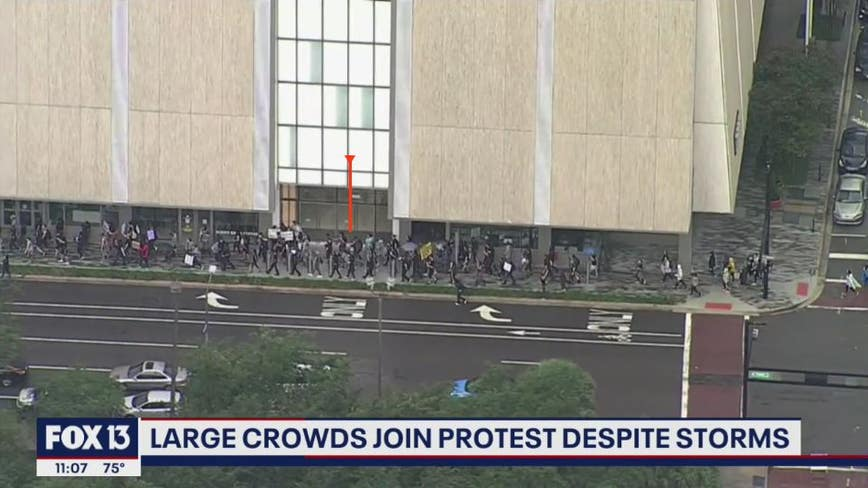 Large protests in downtown Tampa stay peaceful on Saturday