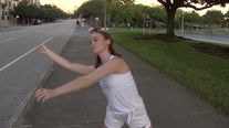 Socially distant dancers perform on the streets of St. Petersburg
