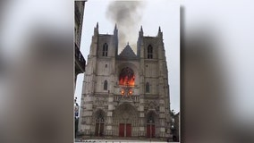 Historic Nantes cathedral damaged by fire