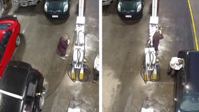Woman nearly hit when car drives away from pump with gas nozzle still attached
