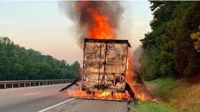 Tractor-trailer carrying cookie dough catches fire in Tennessee