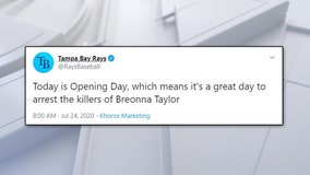 On Opening Day, Tampa Bay Rays tweet 'it's a great day' to arrest Breonna Taylor's 'killers'