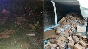 Thousands of bottles of whiskey spill onto Missouri highway after truck overturns