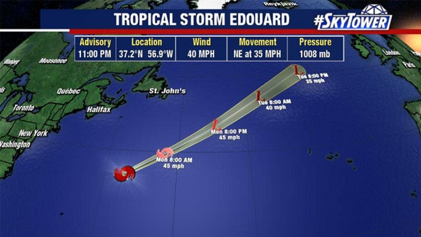 Tropical Storm Edouard moves through Atlantic Ocean, away from US