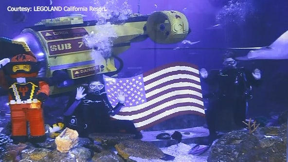 More than 2,000 LEGOs make up American flag on display at LEGOLAND California's Sea Life Aquarium