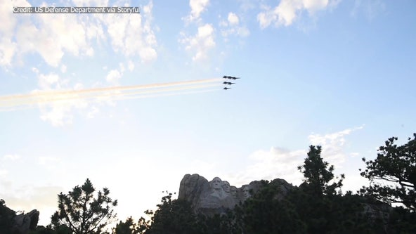 Blue Angels fly over Mount Rushmore
