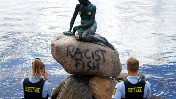 Denmark's Little Mermaid statue vandalized with 'racist fish' grafitti