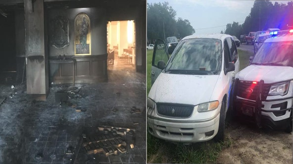 Man crashes into Florida church, lights it on fire with parishioners inside