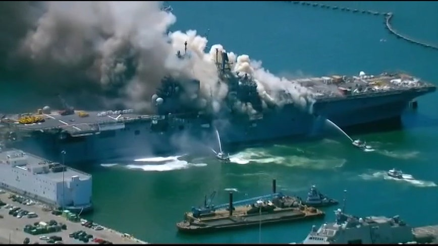 21 injured following explosion, fire aboard ship at Naval Base San Diego