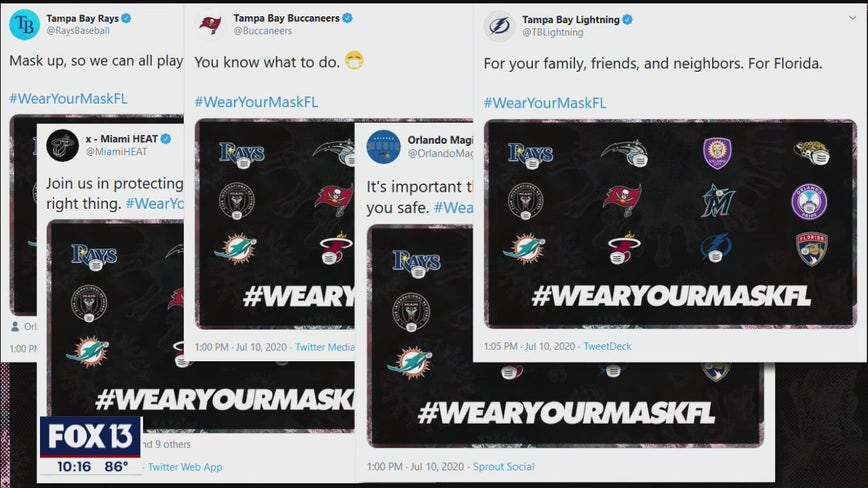 Florida athletes team up to promote wearing a mask in public