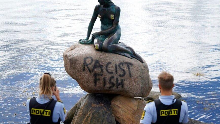 Denmark's Little Mermaid statue vandalized with 'racist fish' grafitti
