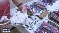 RV park residents sew patriotic masks
