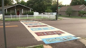 Colorful street mural unveiled in Seminole Heights to make crosswalks more visible to drivers