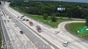 Crash closes I-275 northbound lanes at Hillsborough Avenue