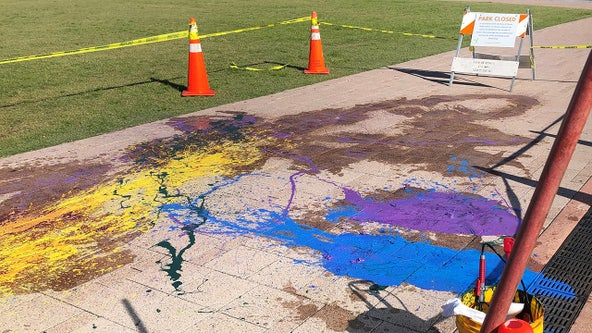 7 arrested after pouring paint on Curtis Hixon sidewalk