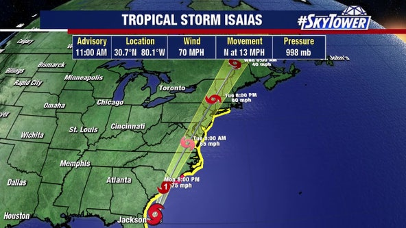 Isaias near hurricane strength as it heads toward Carolinas